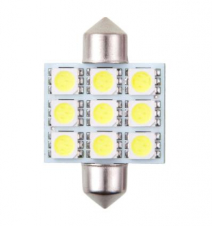 4CARS LED ŽIAROVKA 9LED 12V FESTOON 5050SMD T11X36MM